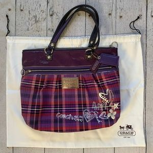 Coach Poppy purple tartan tote